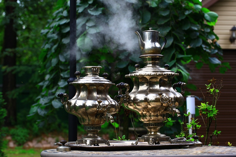 Firewood samovar on the wood