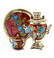 "Samovar 3 liter ""Acorn"" painted set ""Zhostovo"""